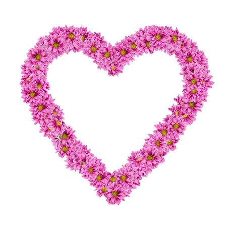 pink heart: Image of Heart frame from flowers on white background