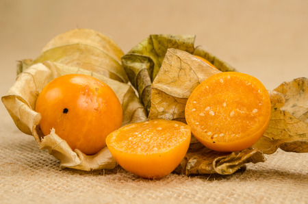 cape gooseberry: Image of cape gooseberry on brown sack background