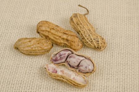 sack background: Boiled peanuts on sack background