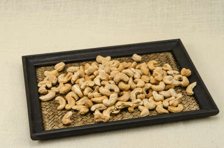 sack background: Cashew nuts on sack background Stock Photo
