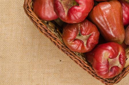 apple sack: Image of rose apple on brown sack background
