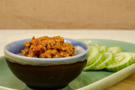 nam: Nam Prig Ong, Thai northern spicy chilli dip with cucumber