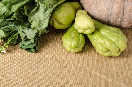 chayote: Image of vegetables on brown sack background