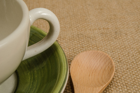 close up image: Close up Image of tea set on brown sack background