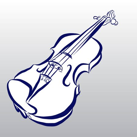 fiddle: Vector of Violin free hand drawing Illustration
