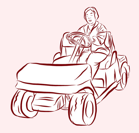 woman driving: Vector of woman driving golf cart Stock Photo
