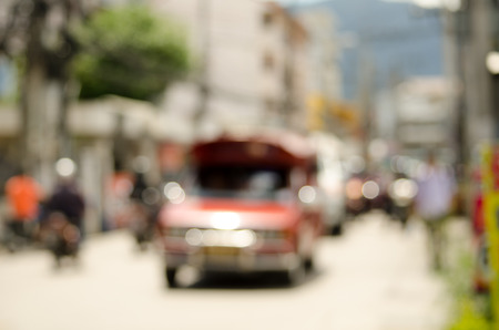 multiple lane highway: Blurred car on road in Chiangmai Thailand