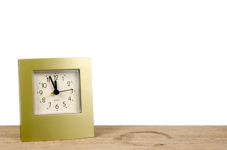 12 hour: Clock on old wood on white background Stock Photo