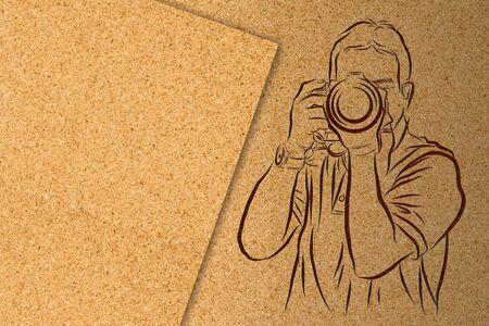 cork: Line art of camera man on cork board