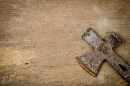 halberd: Ancient axe on old wood Stock Photo