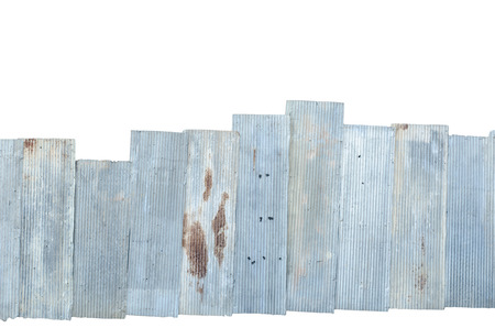 deteriorate: Rusty corrugated metal isolate on white background with clipping path