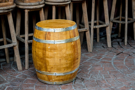 stool: Oak wood barrel with wooden stool