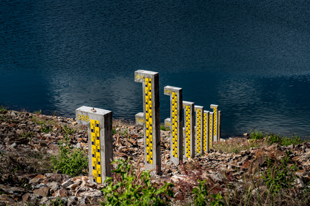 depth gauge: Water level pole at reservoir