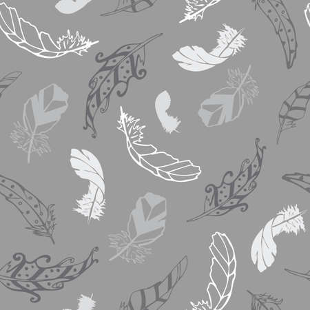 Vector gray with feathers from the Feather Flight Collection seamless pattern background. Features various feathers in greyscale to create a textured seamless background. Good for decor, bedding, packaging Illustration