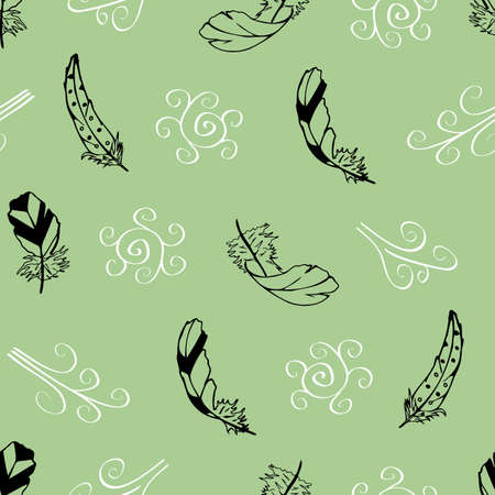 Vector green with feathers and swirls from the Feather Flight Collection seamless pattern background. Features feathers and artistic wind swirls. Good for decor, bedding, packaging