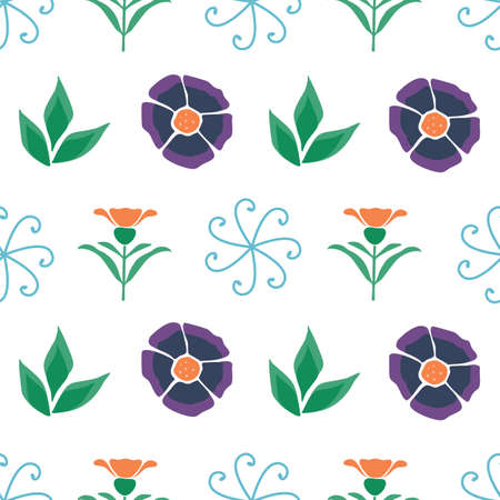 Vector White Geometric Folk Style Floral seamless pattern background. Features flowers and Banksia floral modern elements. Good for decor, fashion, accessories, packaging