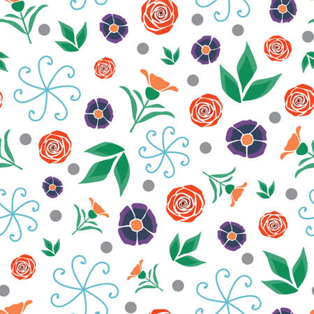 Vector White Folk Style Floral seamless pattern background