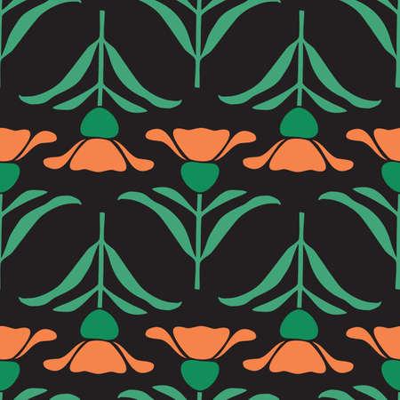 Vector Black Folk Style Floral seamless pattern background Ilustração