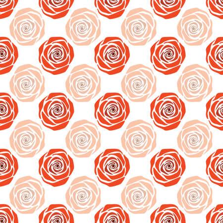 Vector White and Red Folk Style Floral seamless pattern background Ilustração