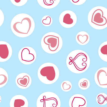 Vector Blue with White Circles and Hearts Collection seamless pattern background