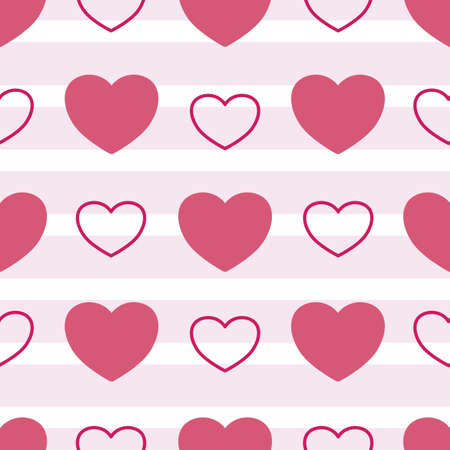 Vector White and Pink Love Hearts seamless pattern background