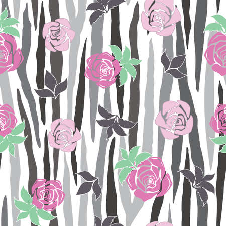 Vector Grayscale Zebra Stripe with Pink Roses seamless pattern background from the Fancy Floral Zebra Collection. Good for fashion, accessories, stationery, bedding, packaging