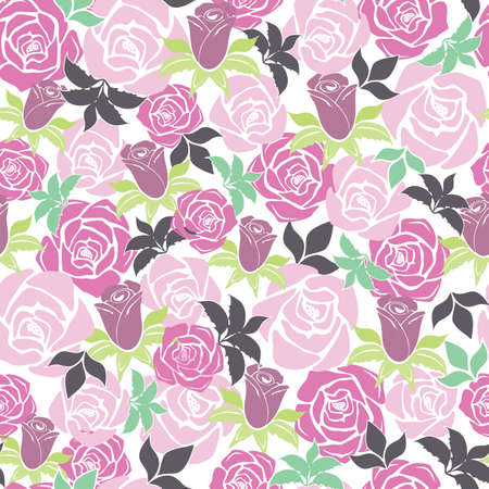 Vector Overlapping Pink Roses seamless pattern background from the Fancy Floral Zebra Collection. Good for fashion, accessories, stationery, bedding, packaging, home decor