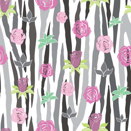 Vector Gray and White Zebra Stripe with Roses seamless pattern background. Versatile, modern Gray-scale zebra stripe background with pink and purple roses. Use for decor, bedding and packaging