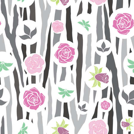Vector, Geometric Gray Zebra Print Floral seamless pattern background. Versatile, modern Gray-scale zebra stripe background with pink and purple roses. Use for decor, bedding and packaging. Vecteurs