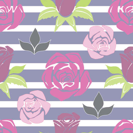 Vector Blue Stripe Floral seamless pattern background. Geometric design with roses and leaves in a modern, versatile pattern. Use for decor, fashion, bedding and packaging