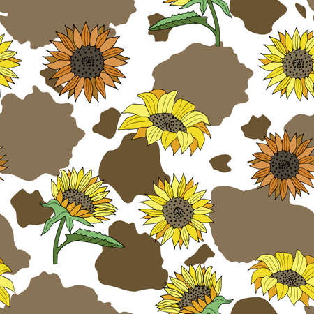 Vector Brown and White Cow Print with Sunflowers seamless pattern background from the Country Sunflower Collection. Features a brown cow hide print with a floral sunflower pattern. Good for fashion accessories, decor, packaging and apparel.