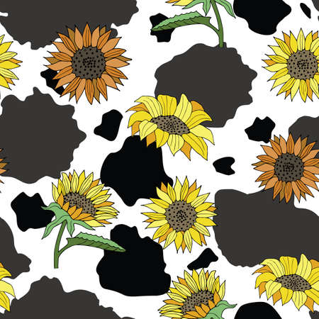 Vector Black and White Cow Print with Sunflowers seamless pattern background from the Country Sunflower Collection. Features a brown cow hide print with a floral sunflower pattern. Good for fashion accessories, decor, packaging and apparel. Vecteurs