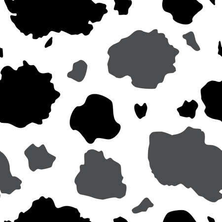 Vector Black, Gray and White Cow Print seamless pattern background from the Country Sunflower Collection. Features a black and white cow hide print pattern. Good for fashion, accessories, decor, packaging and apparel. Vecteurs