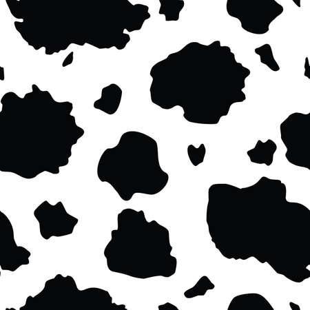 Vector Black and White Cow Print seamless pattern background from the Country Sunflower Collection. Features a black and white cow hide print pattern. Good for fashion, accessories, decor, packaging and apparel.