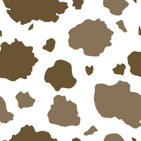 Vector Brown and White Cow Print seamless pattern background from the Country Sunflower Collection. Features a two toned brown and white cow hide print pattern. Good for fashion, accessories, decor, packaging and apparel.