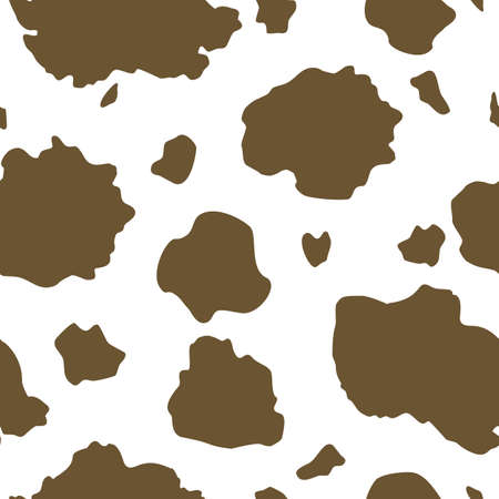 Vector Brown and White Cow Print seamless pattern background from the Country Sunflower Collection. Features a brown and white cow hide print pattern. Good for fashion, accessories, decor, packaging and apparel.