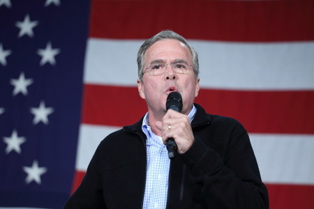 Des Moines, Iowa, USA-October 31, 2015.  Jeb Bush speaks at a Republican rally