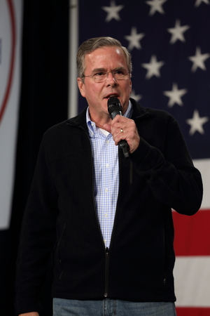 october 31: Des Moines, Iowa, USA-October 31, 2015.  Jeb Bush speaks at a Republican rally