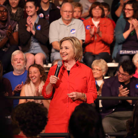 Grinnell, Iowa-November 3, 2015-Hillary Clinton at town hall