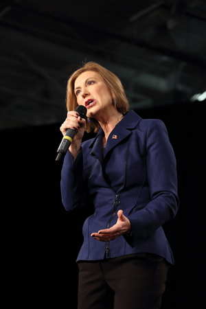 Des Moines, Iowa, USA-October 31, 2015.  Carly Fiorina speaks at a Republican rally