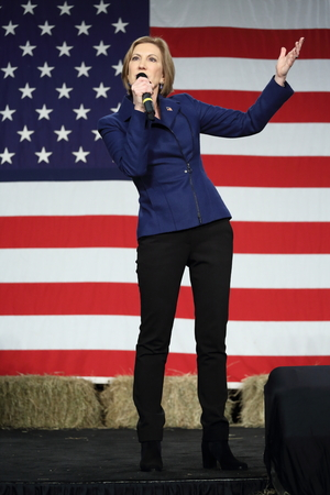 republican: Des Moines, Iowa, USA-October 31, 2015.  Carly Fiorina speaks at a Republican rally