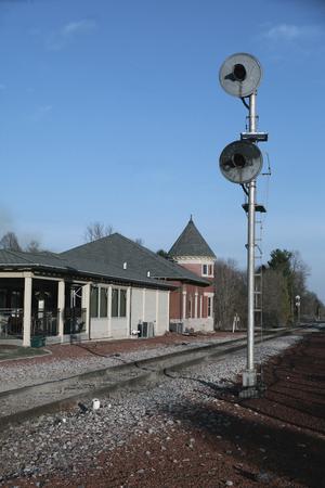 depot: Historic Railroad Depot in Grinnell, Iowa Editorial