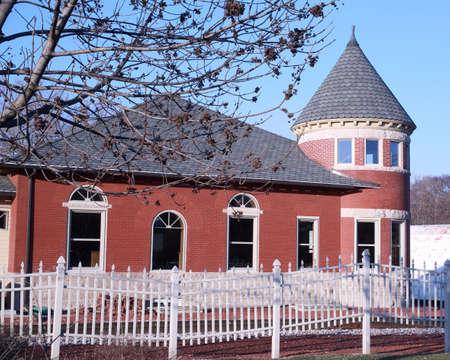 iowa: Historic Railroad Depot in Grinnell, Iowa Editorial