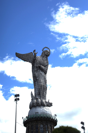 ouside: The Virgin of Quito looks out over the northern section of Quito, Ecuador. Stock Photo