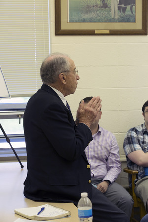 Guthrie City, Iowa, USA, 30th May 2017. Iowa Senator and Judiciary Committee Chair of the US Senate Charles Grassley speaks with constituents at a town hall. Editorial