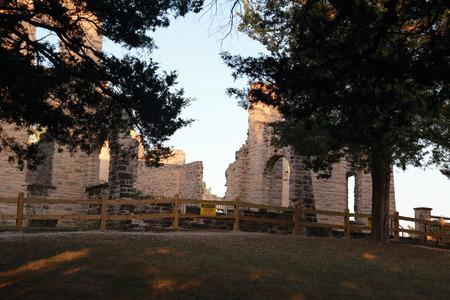 Ancient castle ruins in Ha Ha Tonka State Park, Missouri, USA