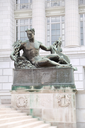 Sculpture at the entrance to the Missouri State Capitol in Jefferson City, MO