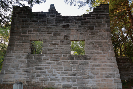 Windows in the wall of an ancient carriage house in Ha Ha Tonka State Park, MO