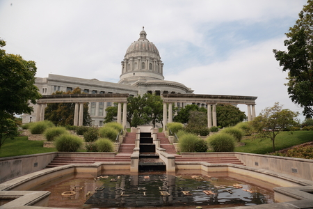 Entrance to MO State Capitol in front of the Veterans Memorial pond, Jefferson City, MO