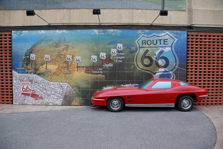 Famous Route 66 mural with 12 car at the Route 66 Mural Park in historic downtown Joplin, Missouri, in November 2017.